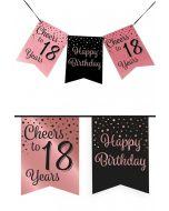 18 Jaar - Vlaggenlijn Vaandel rose/zwart