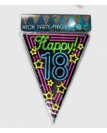 18 Jaar Neon Vlaggenlijn - 10 Mtr