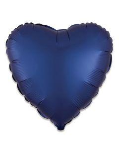 Folieballon Hart Donkerblauw - 43CM