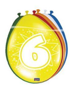 Leeftijdballonnen 6 Jaar 8 Stuks
