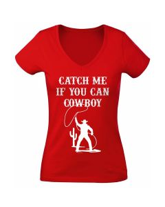 T-shirt rood dames Catch me if you can Cowboy XXL