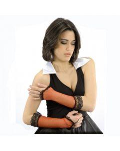 Rode netfish-handschoenen met zwart kant