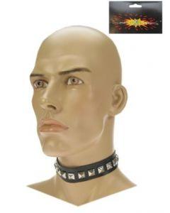 Halsband met studs zwart