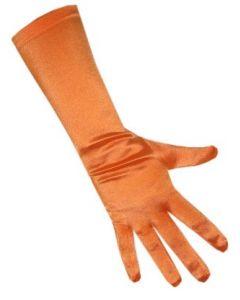 Handschoenen satijn stretch luxe 40 cm oranje one size