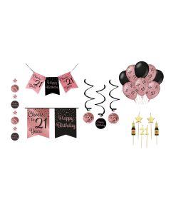 21Jaar Feestpakket RoseGold/Zwart