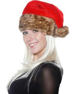 Luxe Rode Kerstmuts met Bontrand