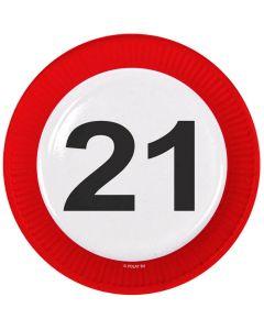21 Jaar Verkeersbord Borden - 8 stuks