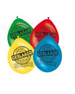 Ballonnen Meerkleurig Geslaagd - 8 Stuks