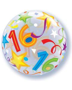 16 Jaar Doorzichtige Bubbles Ballon - 56CM