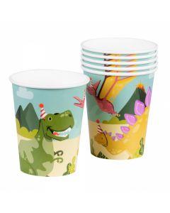 Drinkbekers Papier Dino Party - 6 Stuks