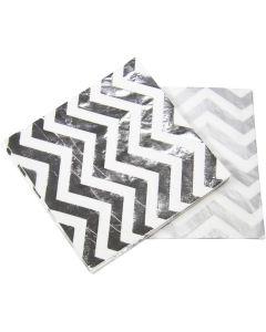 Servetten Zilver Metallic zigzag  20 stks