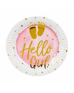 Papieren bordjes Geboorte 'Hello Girl!' - 6 Stuks