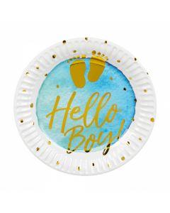 Papieren bordjes Geboorte 'Hello Boy!' - 6 Stuks