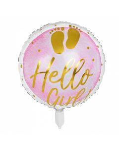 Folieballon Geboorte Meisje - Hello Girl!