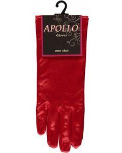Satijnen Handschoenen Rood ( 20 cm )