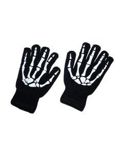 Handschoenen Zwart Met Knoken Print