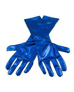 Handschoenen metallic blauw ( 40 cm )