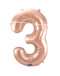 Folieballon Rose Gold Cijfer 3 86 cm