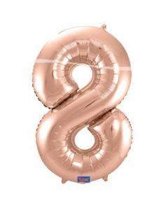 Folieballon Rose Gold Cijfer 8 86 cm