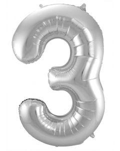 Folieballon Zilver Cijfer 3 - 86 cm