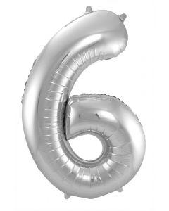 Folieballon Zilver Cijfer 6 - 86 cm