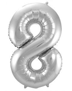 Folieballon Zilver Cijfer 8 - 86 cm