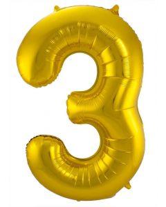 Folieballon Goud Cijfer 3 - 86 cm