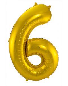 Folieballon Goud Cijfer 6 - 86 cm