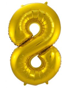 Folieballon  Goud Cijfer 8 - 86 cm