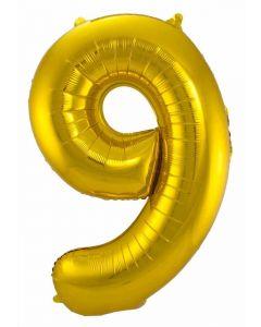 Folieballon Goud Cijfer 9 - 86 cm