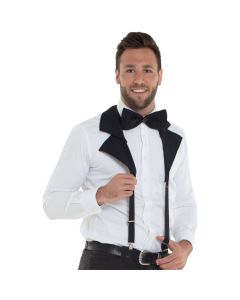 Suspender Bow Tie Black