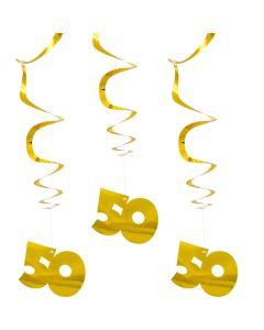 50 Jaar Goudkleurige Hangdecoratie - 3 STKS