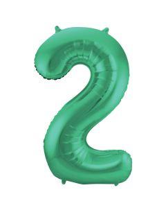 Folieballon Mat Groen Cijfer 2-86 cm