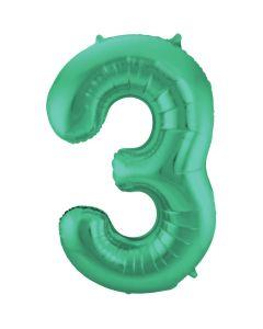 Folieballon Mat Groen Cijfer 3-86 cm