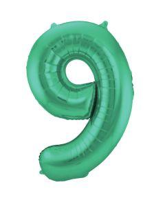 Folieballon Mat Groen Cijfer 9-86 cm