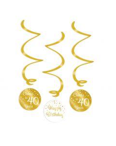 40 Jaar - Swirl Decoratie Goud/Wit