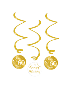 60 Jaar - Swirl Decoratie Goud/Wit