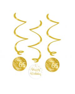 65 Jaar - Swirl Decoratie Goud/Wit