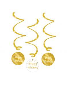 Happy Birthday - Swirl Decoratie Goud/Wit