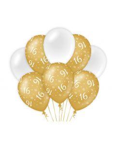 16 Jaar - Ballonnen Goud/Wit
