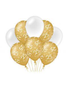 25 Jaar - Ballonnen Goud/Wit