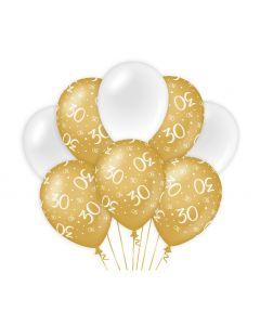 30 Jaar - Ballonnen Goud/Wit