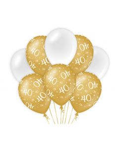 40 Jaar - Ballonnen Goud/Wit