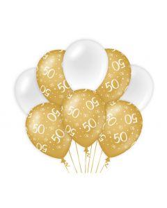 50 Jaar - Ballonnen Goud/Wit