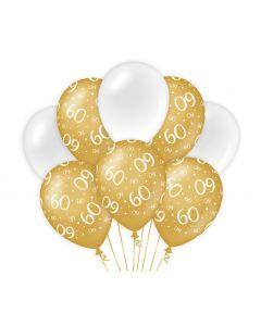 60 Jaar - Ballonnen Goud/Wit