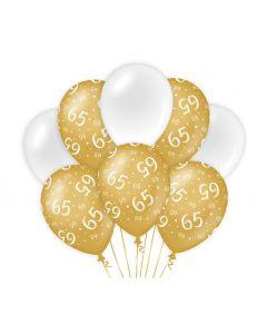 65 Jaar - Ballonnen Goud/Wit