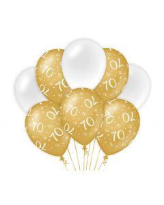 70 Jaar - Ballonnen Goud/Wit