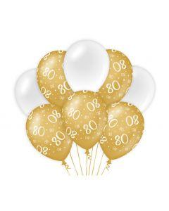 80 Jaar - Ballonnen Goud/Wit