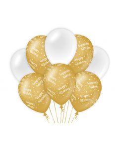 Ballonnen Goud/Wit - Happy Birthday