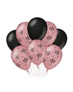 16 Jaar - Ballonnen Roségoud / Zwart